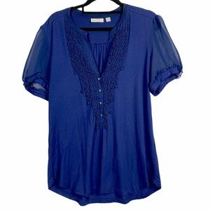 New York & Company Womens Blouse Blue Size large